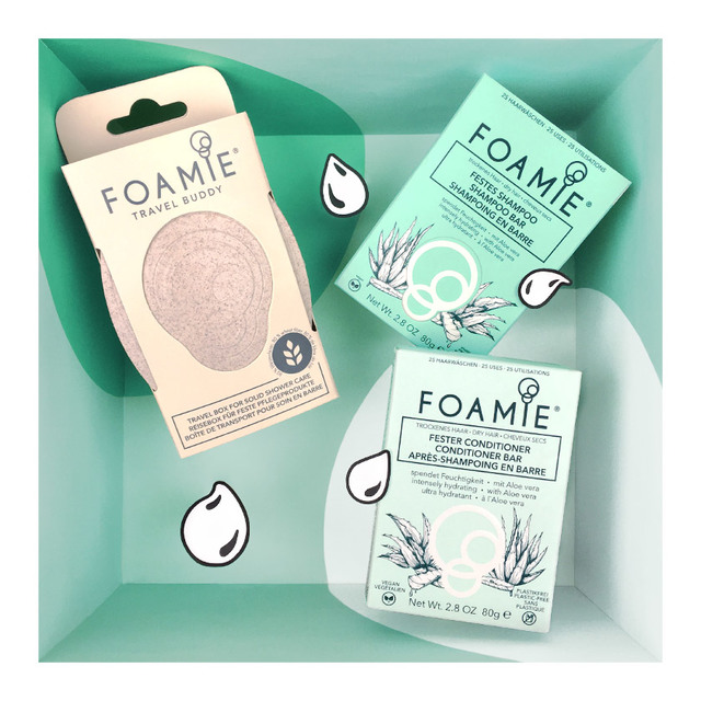 Foamie feste Haarpflege (Schampoo & Conditioner), mit Travel Buddy