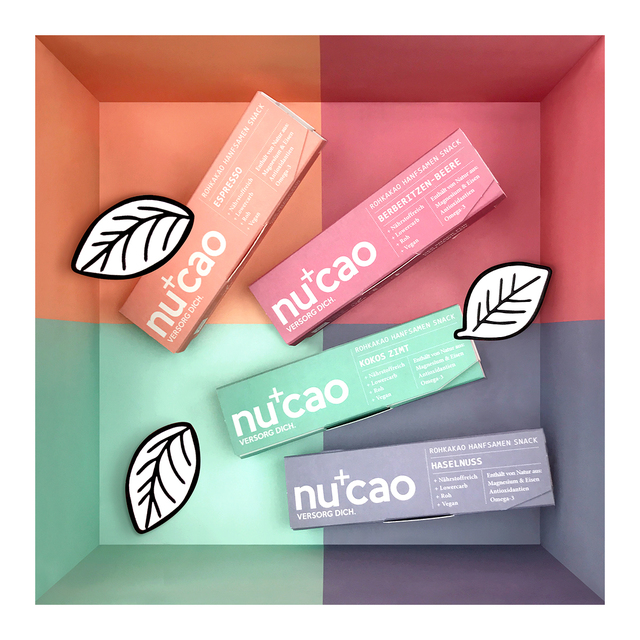 nucao Bio Schoko-Hanfsamenriegel in den Sorten Haselnuss, Kokos Zimt, Berberitze und Espresso