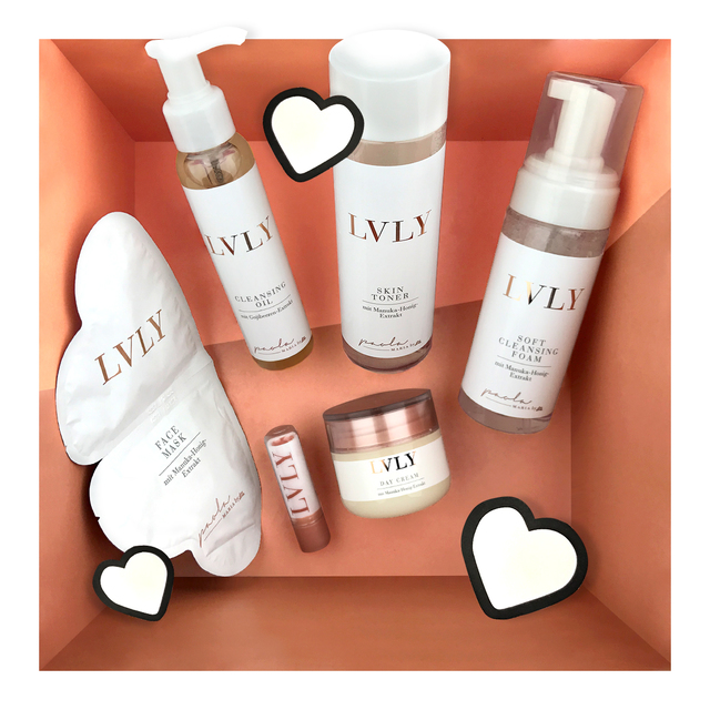 LVLY Soft Cleansing Foam, Skin Toner, Day Cream, Cleansing Oil, Lip Balm, Face Mask