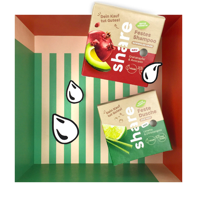 Share festes Shampoo Granatapfel & Avocado und feste Dusche Limette & Zitronengras